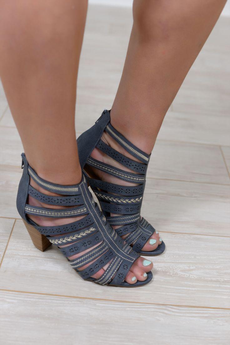 Beverly Heels Style Blue Denim Peep Toe Shoes - SHO625BL