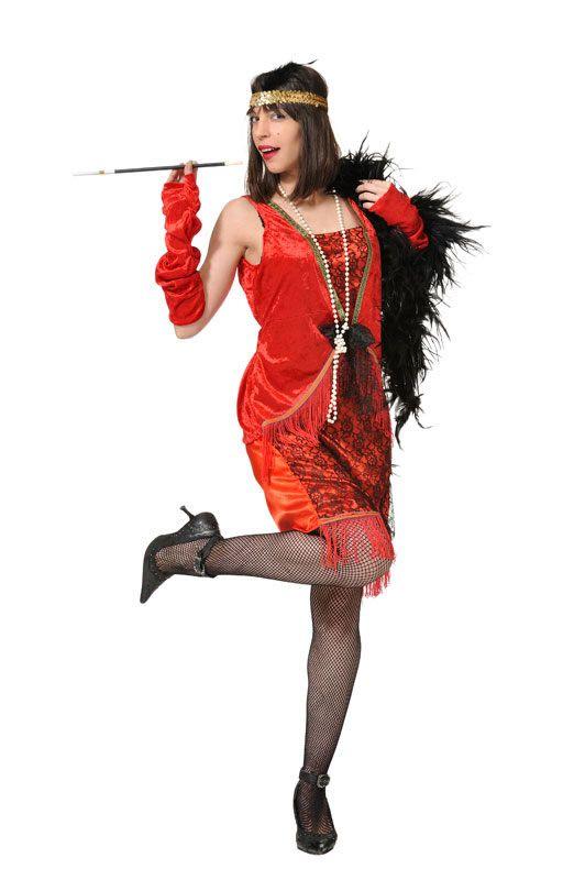 DisfracesMimo, disfraz de charleston rojo barato mujer talla m/l.Compra tu disfraz barato adulto para tu grupo. Este traje es ideal para tus fiestas temáticas de can can y cabaret y años 20.fabricacion nacional