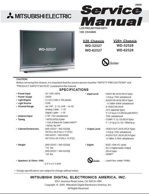 Mitsubishi WD-52527 , WD-62527 , V-28 chassis , LCD PROJECTION HDTV , Service Manual  & DOWNLOAD