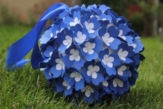 Cobalt Blue and White Pomander Paper Flowers by BloomingBridges, $35.00