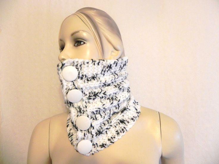 col snood ras de cou col tour de cou femme snood tricoté main noir/blanc Shabby chic laine : Echarpe, foulard, cravate par yolande