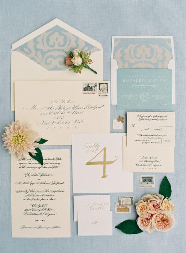 Blush and soft blue wedding invitation suite: http://www.stylemepretty.com/collection/3669/ Photography: Jose Villa - http://josevilla.com/