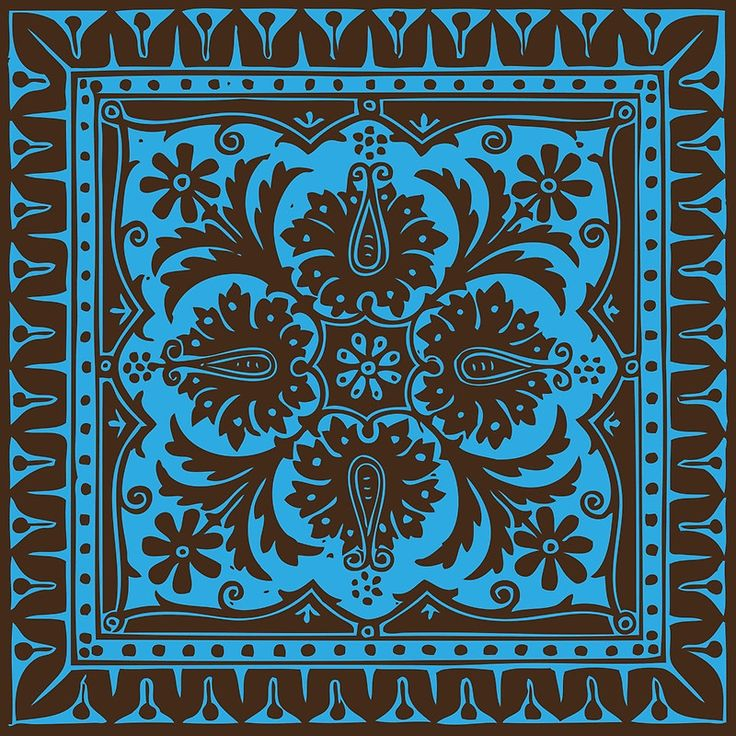 Victorian Floral Pattern No. 2 | Chocolate Brown and Blue