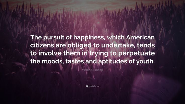 """Malcolm Muggeridge Quote: """"The pursuit of happiness, which American citizens are obliged to undertake, tends to involve them in trying to perpetuate the moods, tastes and aptitudes of youth."""""""