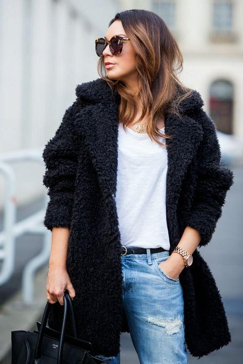 1000  ideas about Black Faux Fur Coat on Pinterest | Black fur