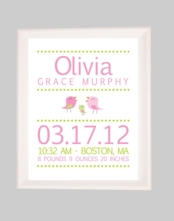24 best baby name art images on pinterest baby names kid names baby birth stats birth announcementbird nursery newborn gift baby girl nursery personalized baby gift printable nursery wall art negle Images