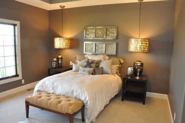 hanging lights in bedroom ottoman sidetables dark walls carpeted floors single bed pillows window urns craftsman design of Mesmerizingly Lovely Hanging Lights in Bedroom to Get Inspirations From