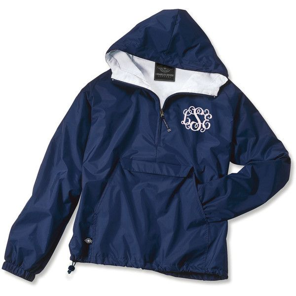 Half Zip Personalized Monogrammed Rain Jacket Multiple Colors ($34) ❤ liked on Polyvore featuring outerwear, black and women's clothing