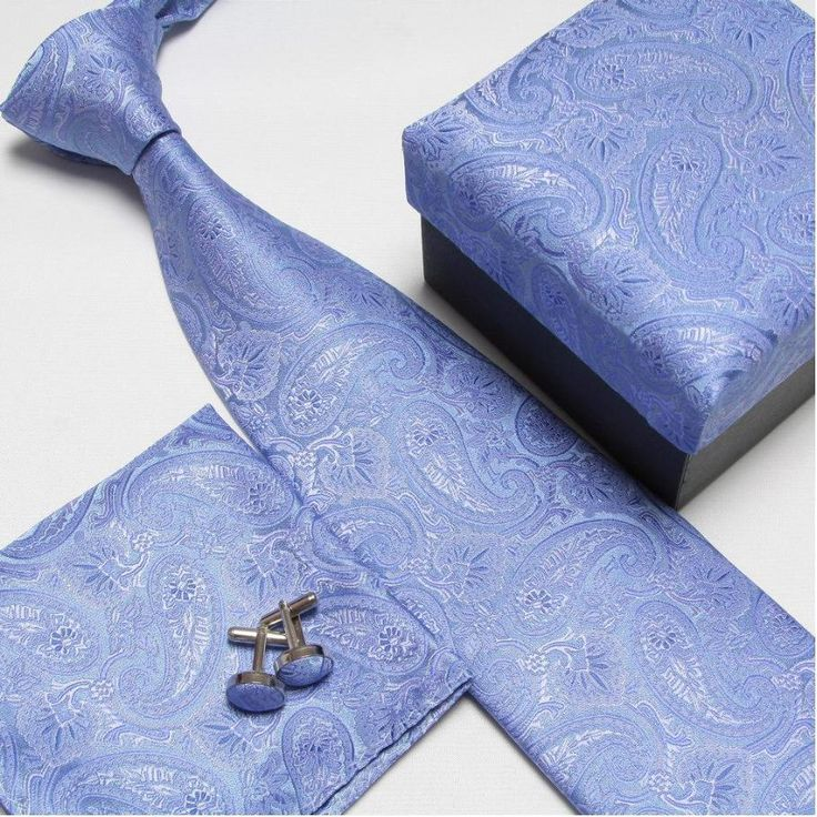 men's fashion high quality neck tie set neckties cufflinks hankies silk ties cuff links pocket handkerchief 14