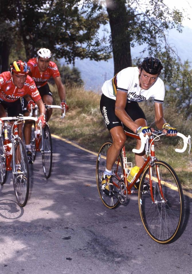 Maurizio #Fondriest in the rainbow jersey with Franco # ...