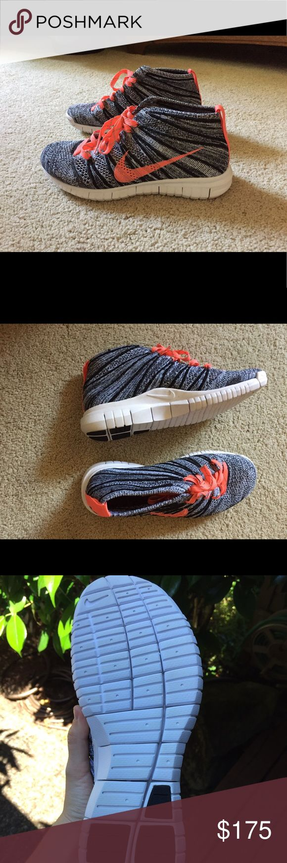 Nike flyknit chukkas new Worn once but bottoms of shoes are perfectly white. These are in brand new condition. No longer sold. Rare. Nike Shoes Athletic Shoes