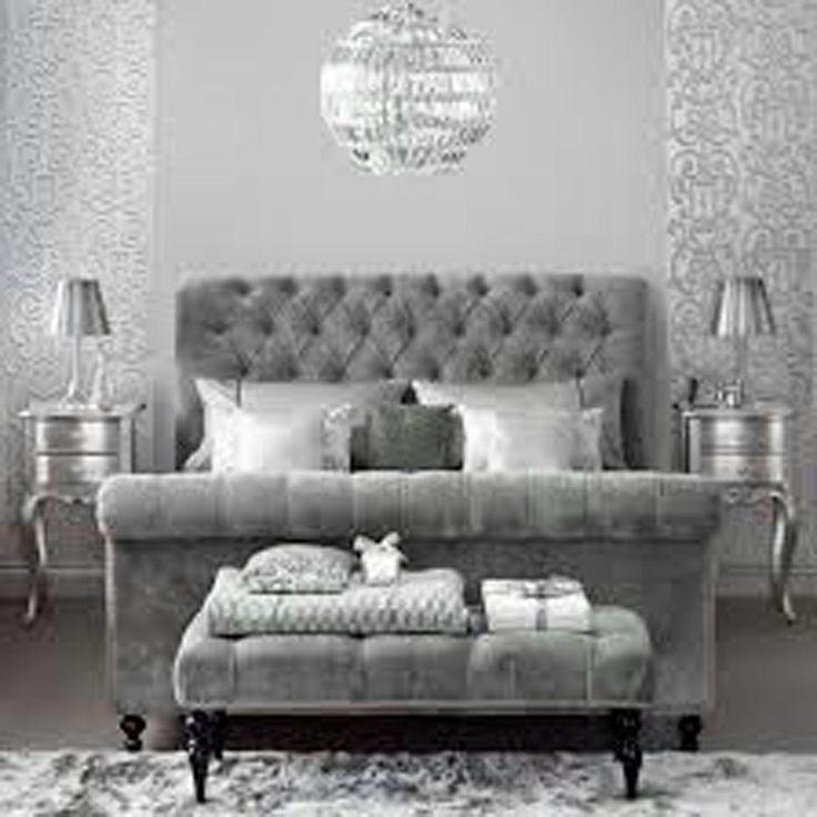Gray Velvet Headboard Chambre D Argent Couleur Chambre Deco