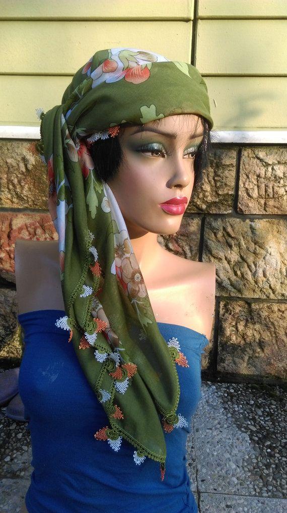 Bohemian Scarf Floral Crochet Edge Scarf Oya Scarf Yemeni Green Scarf Hippie Head Band Floral Scarf Boho Belt  This scarf is 100% Turkish cotton and