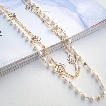 Exquisite Elegant Multilayer Faux Pearl Embellished Rose Openwork Necklace For Women, AS THE PICTURE in Necklaces | DressLily.com