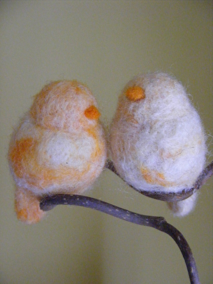 Needle Felted Birds Orange Creamcicle made to order by Zyloby