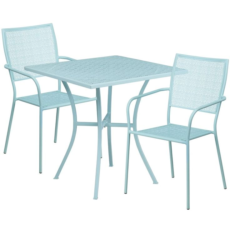 Westbury Square 28'' Sky Blue Indoor-Outdoor Steel Table Set w/2 Square Back Chairs for Restaurant/Bar/Pub/Patio, Size 3-Piece Sets, Patio Furniture (Iron)