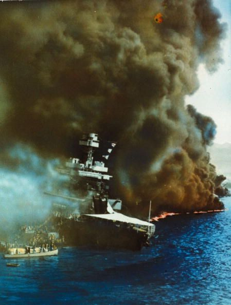 Black smoke pouring from USS California on fire in Pearl Harbour (Pearl Harbor), Oahu Island after the surprise attack by the Japanese which brought America into WW II. (Photo by MPI/Getty Images)