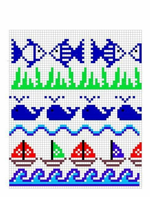 Fish cross stitch. Whale cross stitch.