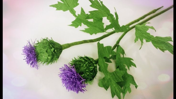 How To Make Thistle Flower From Crepe Paper - Craft Tutorial