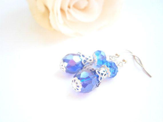 Dark Blue Earrings  Cobalt Teardrop Dangle by GlamorousSparkle