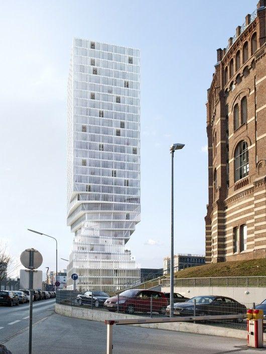 "MVRDV to Construct Twisting ""Hourglass-Shaped"" Tower Near Vienna's Famous Gasometers © MVRDV"