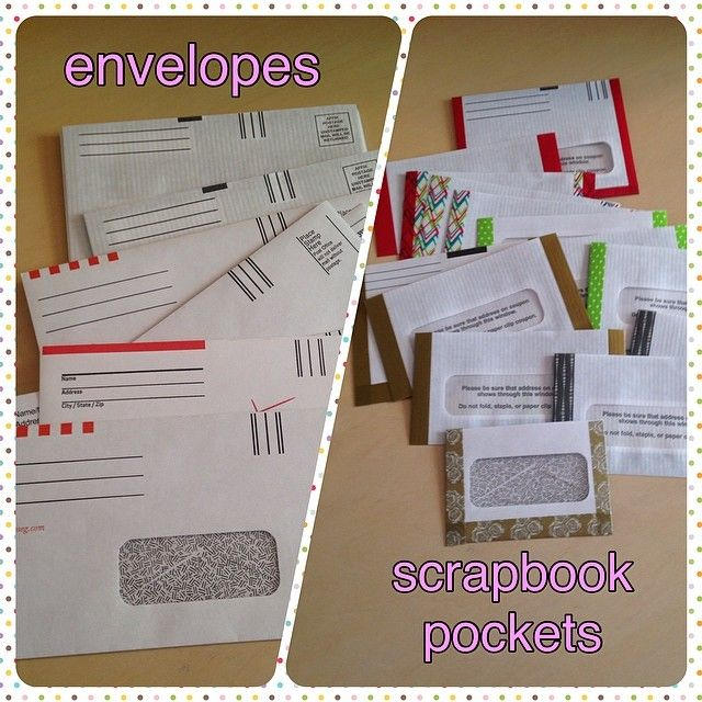 old window envelopes made into scrapbook pockets #upcycling #scrapbooking