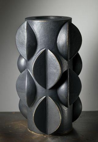 Marie Beckman, sculptural matte black vase