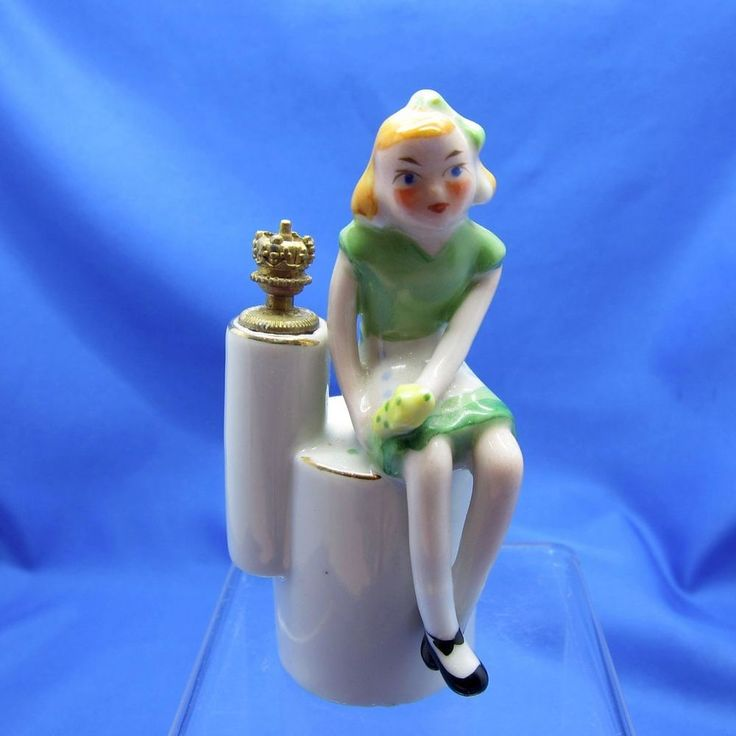 Antique Figural Girl on a Stool Crown Top Perfume, Occupied Japan, NR #Unbranded