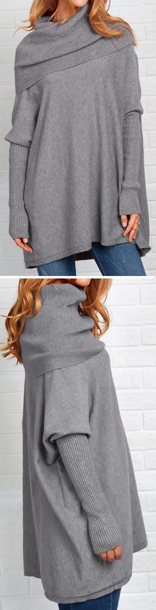 Show free style with $35.99/Free shipping! This long solid color sweater is featured by turtle neck&bat sleeve. Be the true Variety Queen through this basic babe at Cupshe.com!