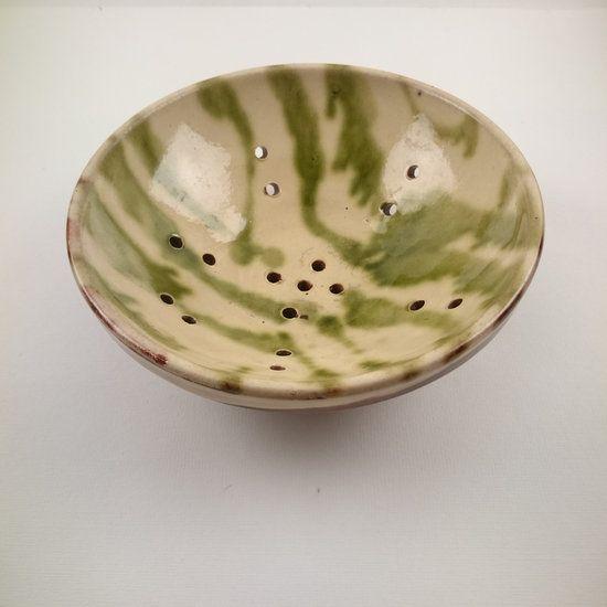 Antiek aardewerk Fruit testje Beige Groen glazuur - Marimic, Uw webwinkel voor Antiek, Curiosa en Decoratie