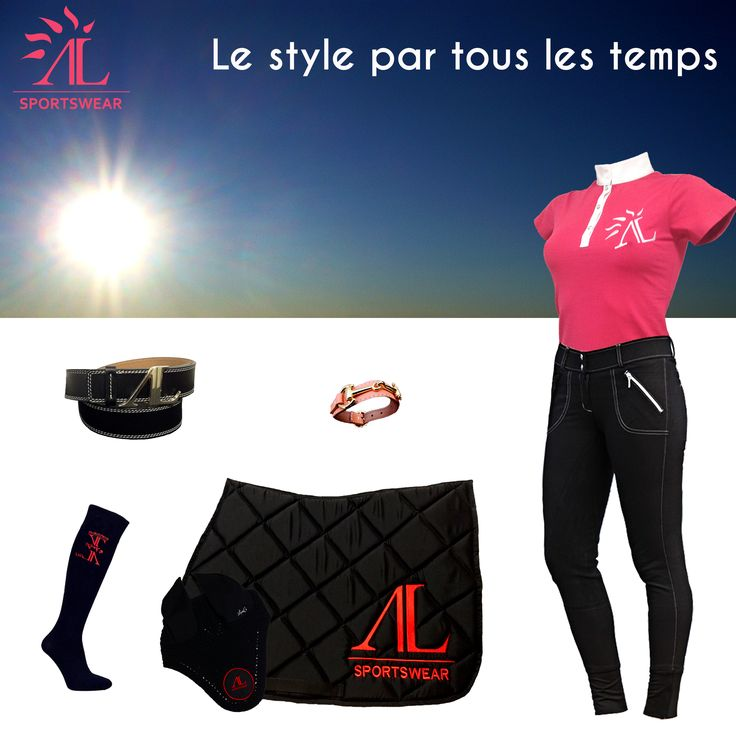 Le polo Goumy'elle rose d'Alexandra Ledermann Sportswear : http://oua.be/20k4 ; Le pantalon Easy Rider noir : http://oua.be/20k6 ; Le tapis noir logo rouge avec le bonnet : http://oua.be/20k7 ; Le bracelet couleur pèche : http://oua.be/20k8 ; La ceinture noir surpîqure blanche : http://oua.be/20k9;