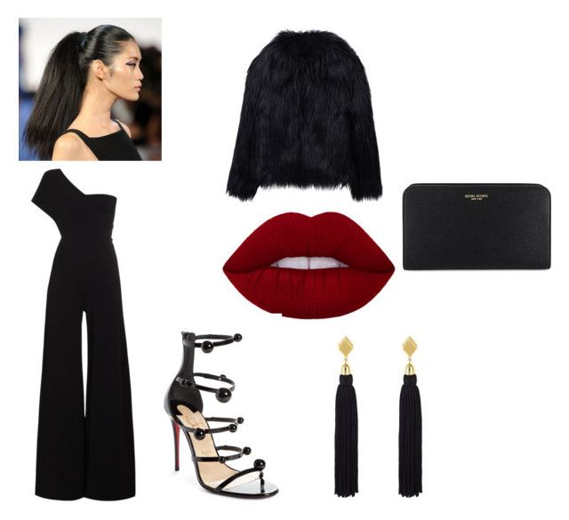 """black with a pop of red"" by goitsemooketsi on Polyvore featuring STELLA McCARTNEY, WithChic, Henri Bendel, Christian Louboutin and jumpsuits"