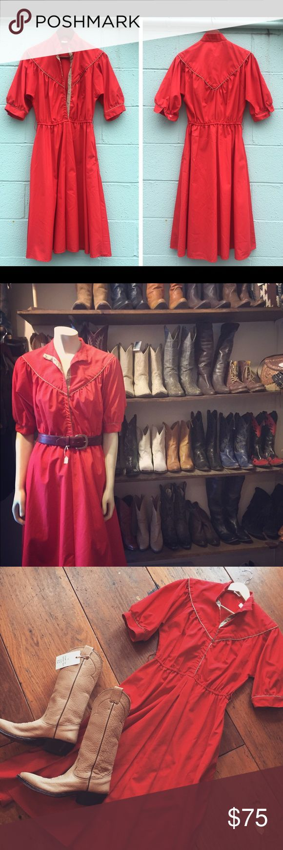 1950s Vintage Western Red Dress In perfect condition, Vintage adorable dress. Candy apple red in color. Woven pattern in the back. Button up. Doesn't have a size tag but looks In-between a Medium and a Small. Perfect for those Rockabilly ladies out there! 1955 Vintage Dresses