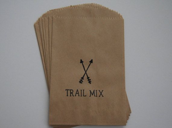 Camping Arrows Trail Mix Kids Birthday 4x6 Favor Bags, Set of 25