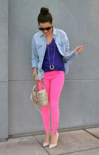 Neon Pink, Purple Jean Outfit #jeans #fashion For more tips + ideas, visit www.makeupbymisscee.com