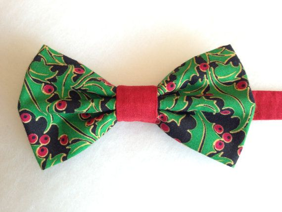 Christmas Bow Tie Holiday Bow Tie Holly Bow Tie by WatfordTies