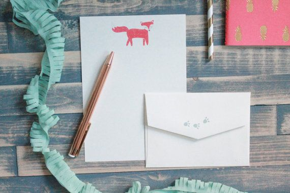 Cute Fox Letter Writing Set | Writing Paper | Stationery Gift Set | Gift for Her | Tween Girl Gift | Stocking Stuffer | Snail Mail