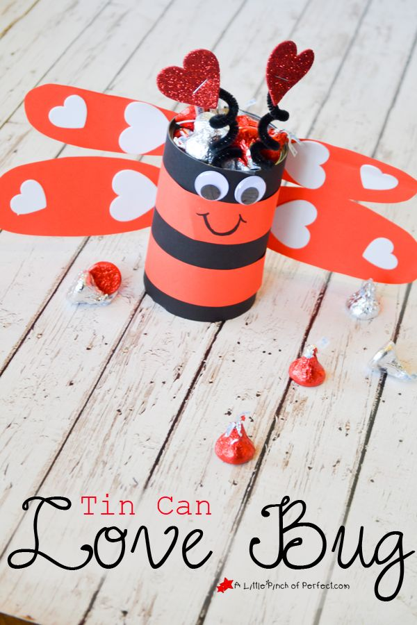 A tin can love bug full of kisses, perfect for Valentine's Day! I can see it on my desk!
