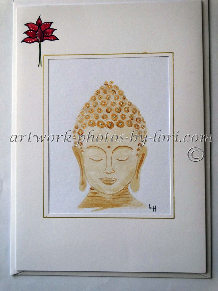 hand painted in gold paint Buddha notelet