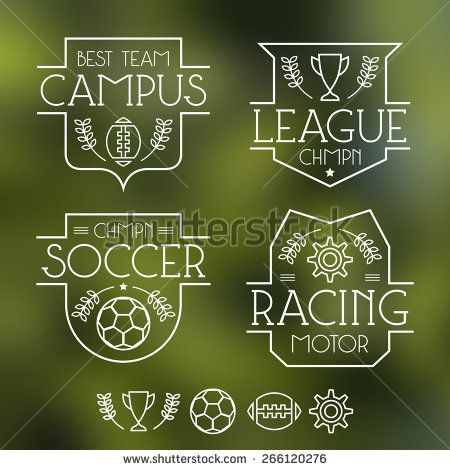 Sport badges and icons in thin line style. Graphic design for t-shirt. White lines on a blurred background - stock vector