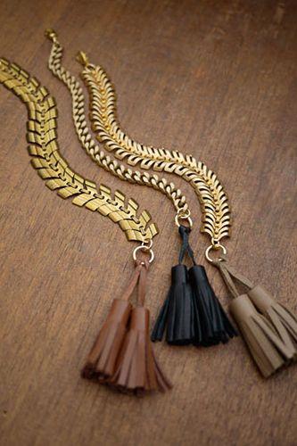 gold chain & leather tassel bracelets