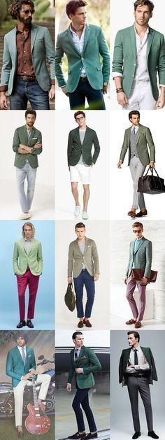 Key Mens Blazers for 2015 Spring/Summer: The Green Blazer Lookbook Inspiration