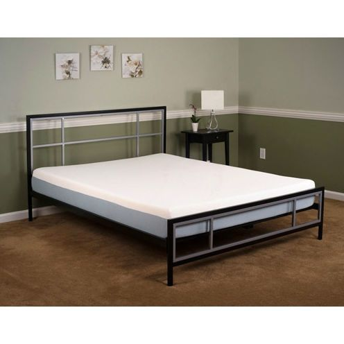 queen metal platform bed frame with matte black pewter headboard and footboared - Metal Platform Bed Frame Full