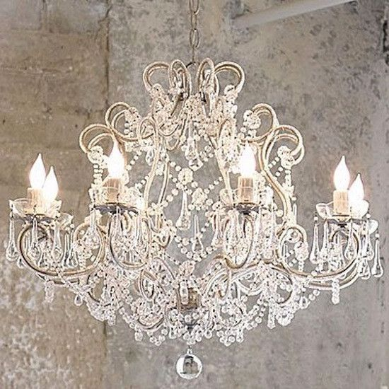 Beautiful Large 8 Light French Cream Vintage Shabby Crystal Raindrop  Chandelier | eBay - Best 25+ Vintage Chandelier Ideas On Pinterest Rustic Light