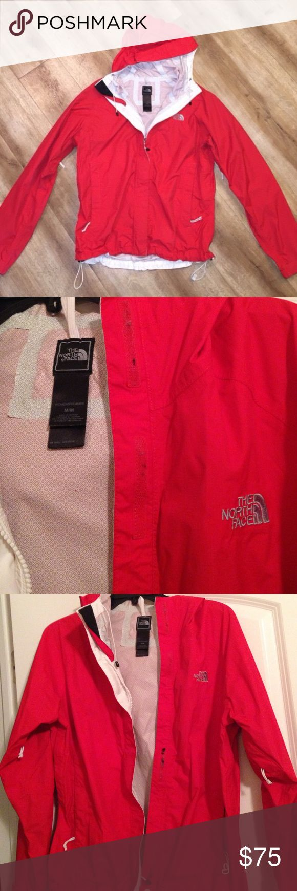 Red North Face Rain Jacket GUC Red Northface Rain Jacket. No flaws other than the Velcro not being pristine. The Velcro could easily be defuzzed. See last picture. Otherwise this jacket is in great condition! North Face Jackets & Coats