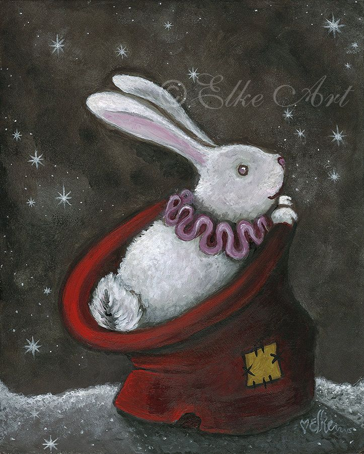 "A5 mini Elke Art Print ""Got Nothin' but Dust Bunnies to pull outta ya Hat!"" (210 x 148 mm) Magician's Hat White Rabbit sparkle bunnie by elkeart on Etsy"