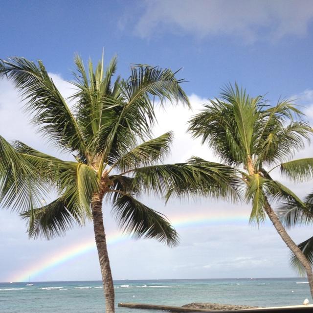Breakfast with a rainbow. Waikiki beach Hawaii!