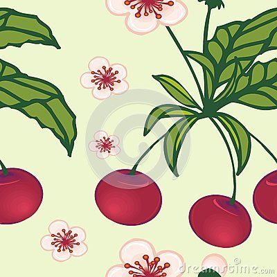 Beautiful tropical seamless pattern of Cherry vector pattern