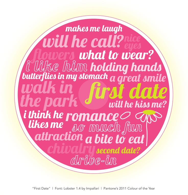 """I came across a beautiful font by Impallari and had to create a personal project to celebrate it. In """"First date"""" you get to see some of the subtle ligatures of Lobster 1.4 such as the pairing of """"f"""" and """"i"""" in """"first"""". Thought I'd complete the girly-girl look of this theme with Pantone's 2011 Colour of the Year, Honeysuckle."""