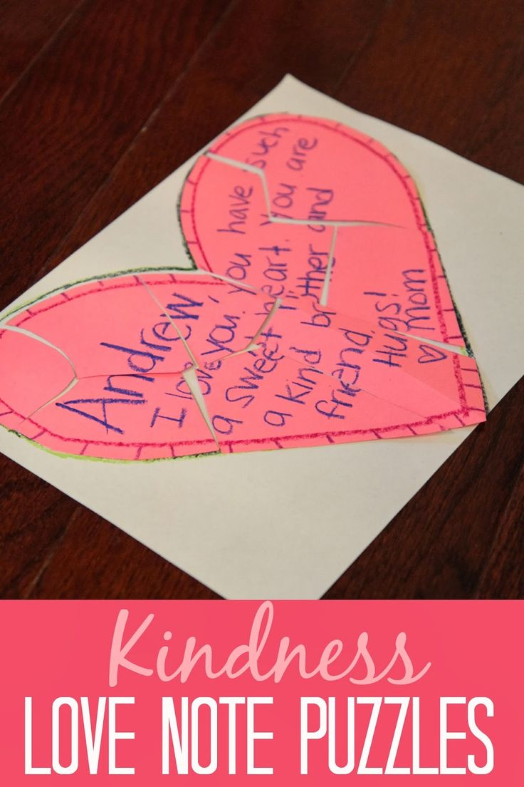 Kindness crafts for preschoolers - Kindness Love Note Puzzles For Kids